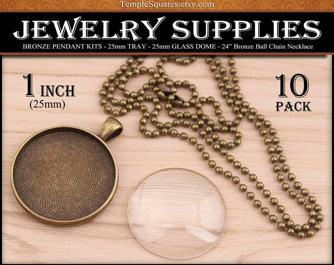 DIY Jewelry Supplies Bronze Pendant Kits 25mm 1 inch Tray Glass and Ball Chain Necklace Craft Kit for YW 2017 Ask in Faith Activities