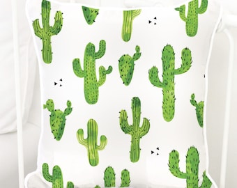 Cactus Square Pillow | Prickly Cactus, Green, White, Modern, Gender Neutral, Baby Boy Glider Nursery Pillow