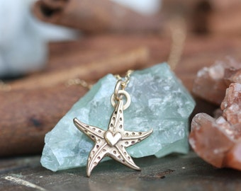 Whimsical Golden Bronze or solid Sterling Silver Starfish Beach Necklace hand cast ready to ship Exclusive design