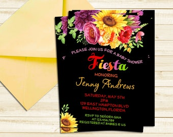 Fiesta Baby Shower Invitation - Mexican Fiesta Chalkboard and Bright Colors Baby Shower Printable Invite