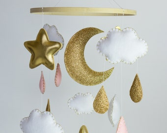 Baby Mobile - Baby Girl Mobile - Pink and Gold Nursery - Cloud Mobile - Stars Mobile - Gold and Pink Decor - Baby Crib Mobile
