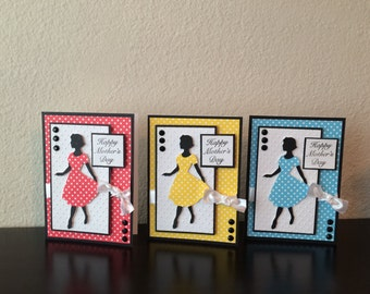 Happy Mothers's Day Card/ Mother's Day Card/ Retro Mother's Day Card/ Mother's Day/ Mom/ Mom Card/ Red Yellow Blue