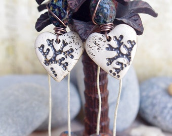 Sea fan coral carved earrings, heart shape pendant, summer jewelry, beach dangle  - titanium French ear wire
