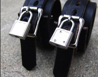 BDSM Leather Bondage Cuffs - Heavy Duty Restraints