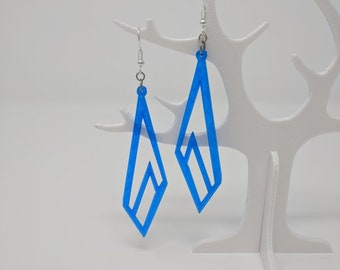 Blue Florescent Drop Earrings--3D Printed Jewelry--Asymmetrical Geometric--Contemporary Mod--Glowing Neon--Lightweight Statement Jewelry