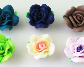 Polymer Clay Flowers, Polymer Clay Roses, Clay Roses, Clay Rose Charms, Clay Rose Pendants, Polymer Clay Beads, Clay Flower Beads, Flowers