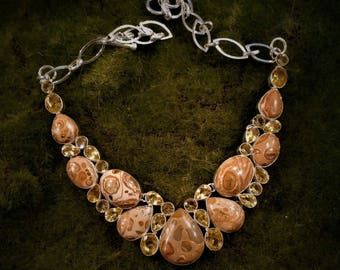 Beautiful fossilized jasper statement necklace 925 sterling overlay