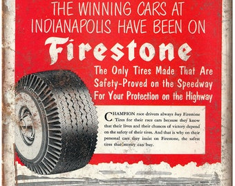 """Firestone Tires Indianapolis Speedway 10"""" X 7"""" Reproduction Metal Sign A548"""