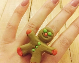 Handmade Polymer Clay Gingerbread man ring