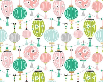 PANDA-RAMA - Lantern in Pink - Blue Green Lanterns Cotton Quilt Fabric - by Maude Asbury for Blend Fabrics - 101.129.02.2 (W4289)