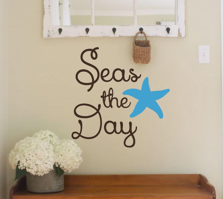 Vinyl Wall Decal Seas The DayBeach Themed Nautical Beach - Wall decals beach quotes