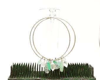 Big hoop earrings with fused stones