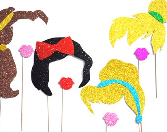 Princess and Fairy Hair and Lips Photo Booth Props - 8 piece set - GLITTER Props - Birthdays, Weddings, Parties - Photobooth Props