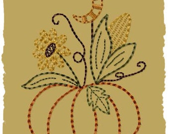 Primitive Machine Embroidery Design-Moonlite Pumpkin--Version 2--(4x4)-INSTANT DOWNLOAD