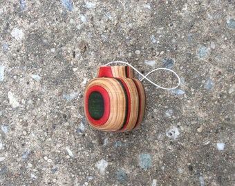 Red green round Christmas ornament
