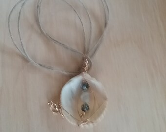 Wire Wrapped Shell and Bead Necklace