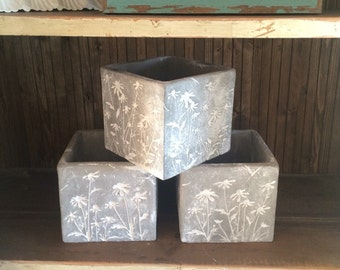 Gray Cement Square Planter Pots Containers W/ White Wildflower Etched Design~Perfect as a Planter or for a Variety of Uses • 3 Avail!