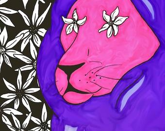 Lion Flower Pop Print