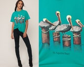 Pelican Shirt ST AUGUSTINE BEACH Shirt Bird Shirt 90s TShirt Florida Shirt Vintage Retro T Shirt Graphic Tee 1990s t shirt Medium Large