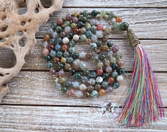 Mala beads Necklace Protection Indian Agate beads mala necklace, hand knotted mala Crystal healing Agate meditation gemstone 108 Mala beads