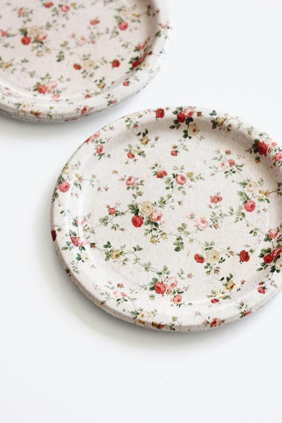 sc 1 st  Etsy & 8 FLORAL TEA PARTY 7 Paper Plates Parisian Vintage Style