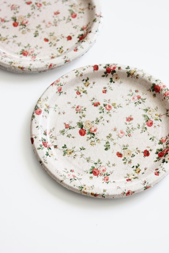 8 FLORAL TEA PARTY 7  Paper Plates Parisian Vintage Style Shabby Chic Garden Tea Time Mint Green Pink Yellow Rose Roses French Paris Spring from ...  sc 1 st  Etsy Studio & 8 FLORAL TEA PARTY 7