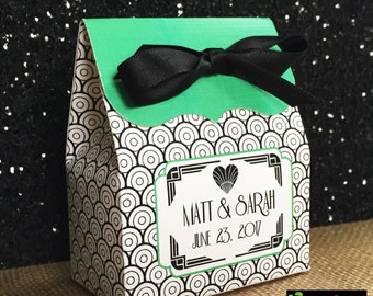 Art Deco Wedding favors, Art Deco Favor box,1920's Wedding favors,Deco,Personalized,Bridal Shower,Art Deco favors,Candy Buffet box,Treat box
