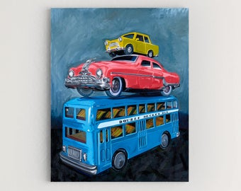 Toy Cars -Original Oil Painting on Canvas Contemporary Hot Wheels Matchbox by Bandini Mull