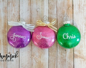 personalized christmas ornament, christmas ornament, custom ornament, christmas decoration, glitter ornament, 2017 Christmas ornament