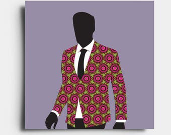 African Print Gent - Greetings Card - Purple
