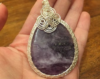 Chevron Amethyst Wire Wrapped Pendant Necklace Handmade