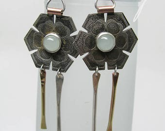 AzTecha Flower Earrings with Aquamarine Stones - Ready to Ship