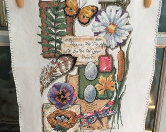 Unique Finished Embroidery Flowers Butterfly Moodboard Pinboard Cross Stitch
