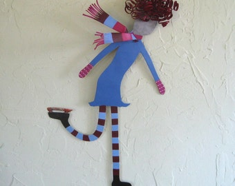 Metal Wall Art Ice Skater Girl Red Head Recycled Metal Blue Winter Sports Art Indoor Outdoor Decor 12 x 19