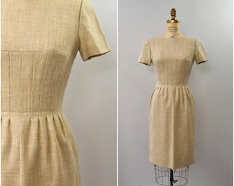 1960's Lanz Originals wool oatmeal tailored dress • small