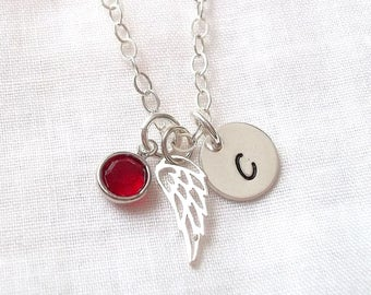 Personalized Angel Wing Necklace ~ Memorial Necklace, Rememberance Jewelry, Guardian Angel, Sterling Silver ~ MADE TO ORDER