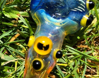WU Tang Glass  spoon. WU TANG millie with yellow and blue highlights. Fumed with silver and gold, color changing. Awesome piece