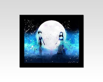 Corpse Bride inspired Victor and Emily watercolour effect print