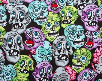C347 - 140cmx100cm Cotton  Satin Fabric for sleep wear - Colorful Skull