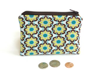 Change purse, women coin pouch, flower fabric zipper pouch gift under 10, credit card holder