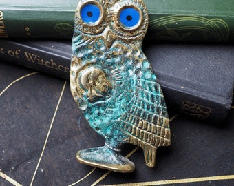 Vintage Greek Owl Statue For Athena - Wisdom - Vintage or Antique Brass - for a Pagan or Wiccan Altar - Witchcraft, Magic
