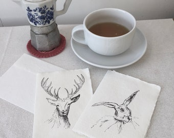 Notelets - Hare, Stag, notelets, Thankyou cards, eco friendly british wildlife, animal lover, countryside, greeting cards, handmade paper,