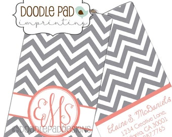 Monogrammed Luggage Tag, Custom Chevron Bag Tag
