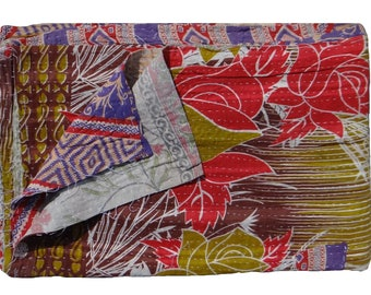 One of Kind,Indian Handmade ,Reversible Twin Size Quilt ,Vintage Kantha Quilt ,Ethnic Floral Design ,Throw Quilt #1005