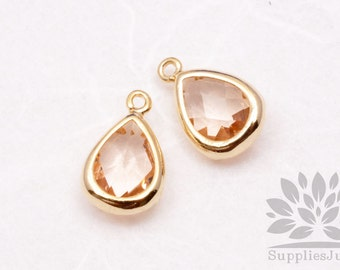 F121-G-CH// Gold Plated Champagne Faceted Teardrop Glass Pendant, 2 pcs