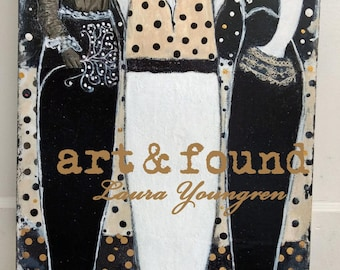 "original painting mixed media on canvas from my ghost series ""Lovely Ladies"" by Laura Youngren white, creme, black, gold"