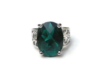 Huge Chunky  Oval Cut Green Topaz Crystal CZ 925 Sterling Plate Rhodium Finished Cocktail  Ring Size 8