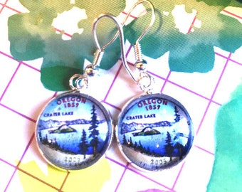 State of Oregon quarter cabochon earrings- 16mm