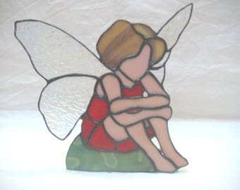 Stained glass Fairy in Red