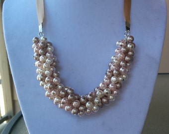 Bronze, Rosaline, and Cream Pearl Cluster Necklace